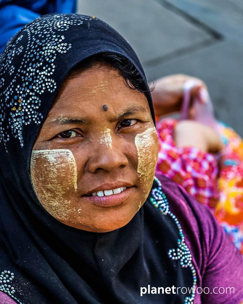 Yangon woman with thanaka on her face