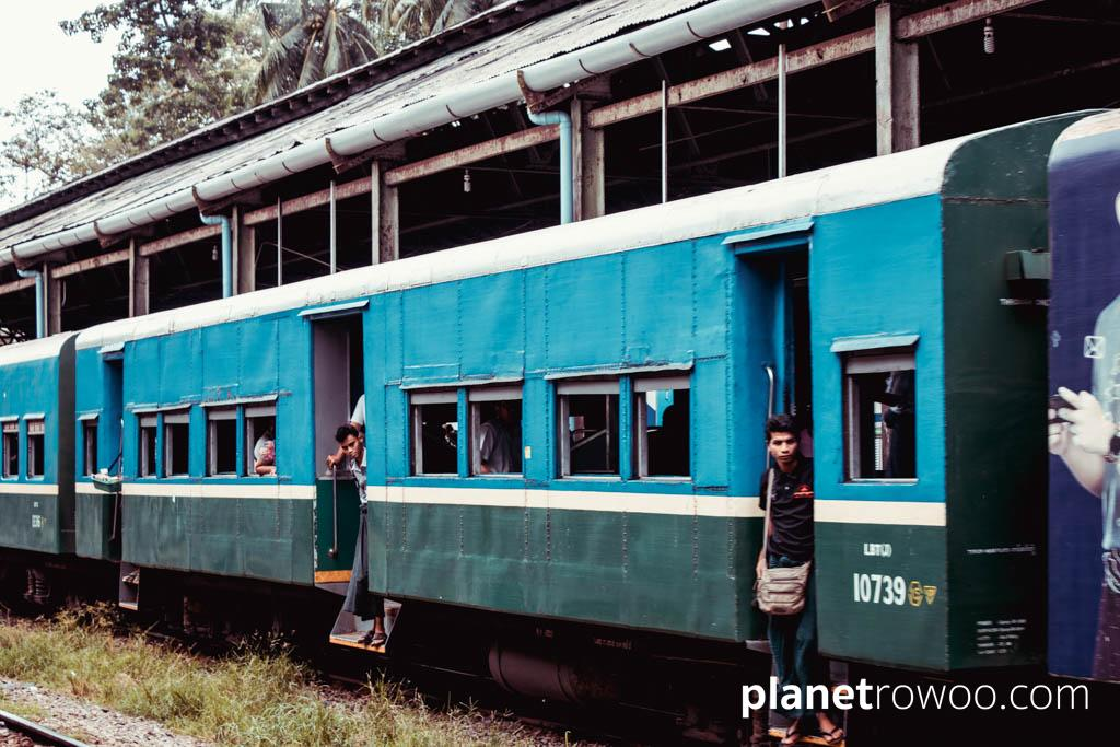 Passengers arriving at Yangon Central Railway Station