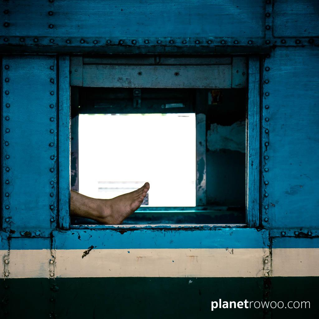 Getting comfortable at Yangon Central Railway Station