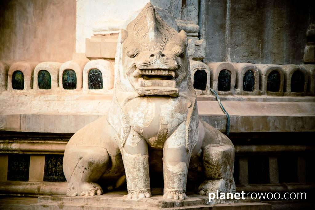A Chinthe, the mythological Burmese lion at the Ananda temple