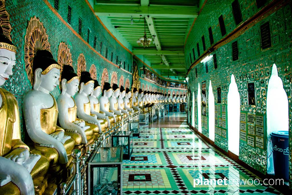 Buddha images inside U Min Thonze Pagoda, Mandalay