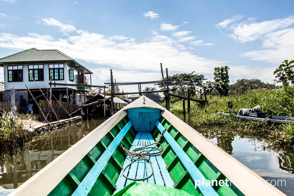 Heading south towards Inle Lake on my private motorboat