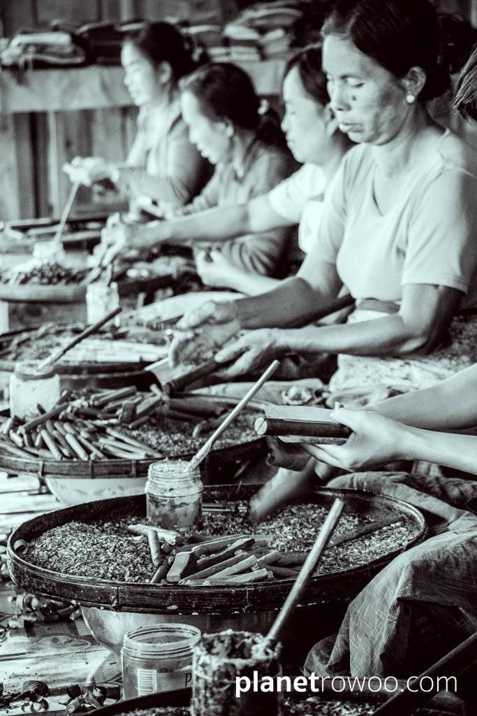 Inle Lake village women making cheroots at a cheroot factory