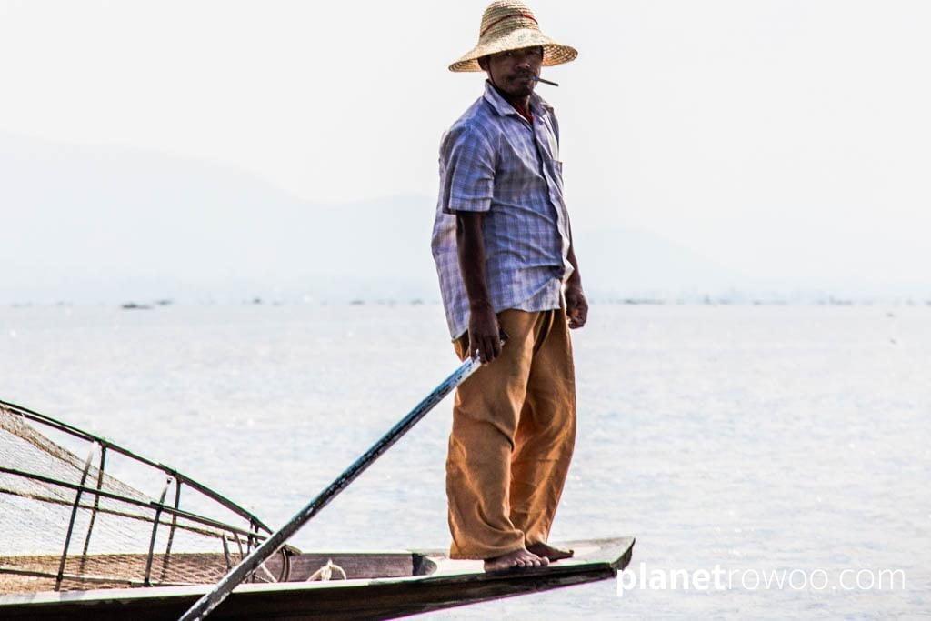 Intha fisherman with cheroot, Inle Lake
