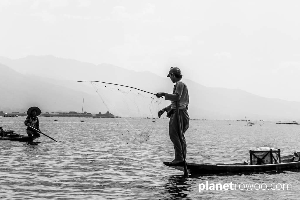 Fisherman casting his net, Inle Lake