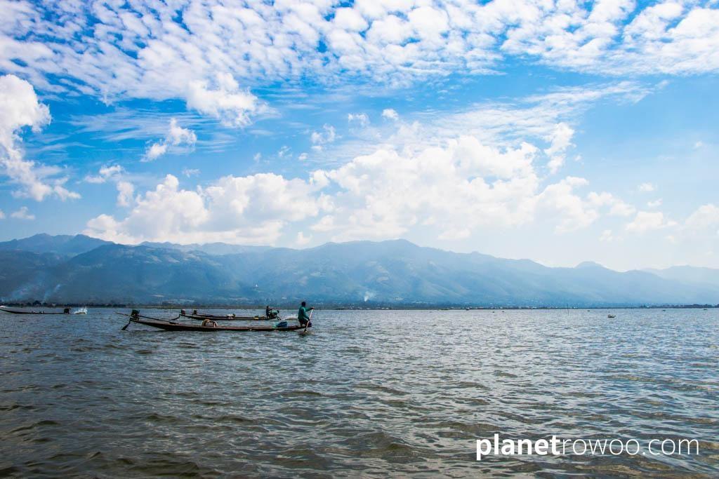 Inle Lake fishermen with Shan hills backdrop