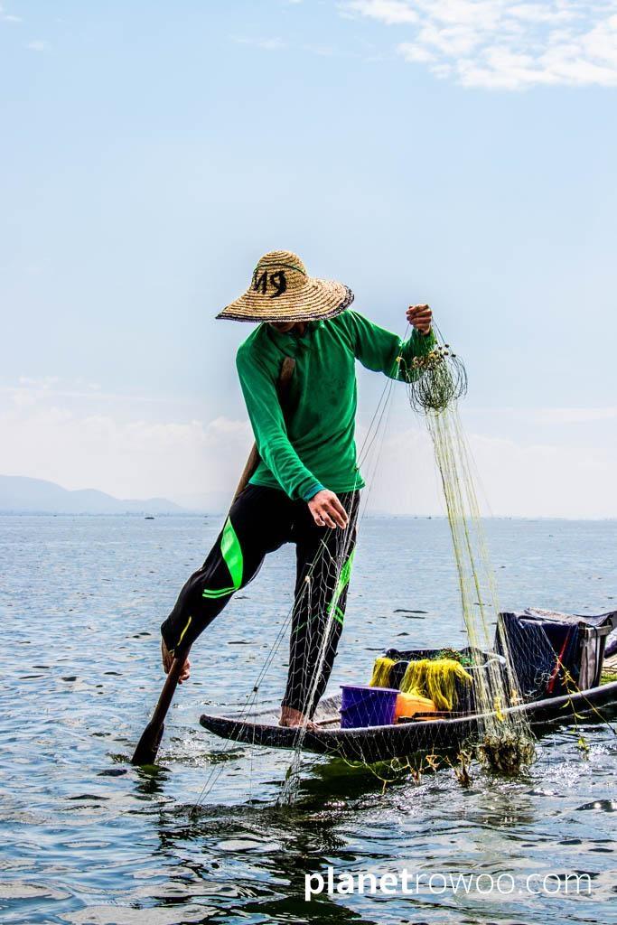 Iconic one-legged fisherman of Inle Lake