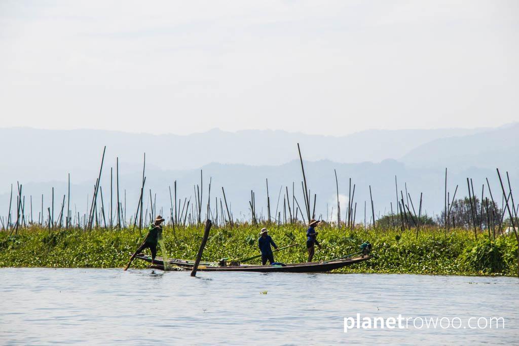 Inle Lake fishermen alongside floating gardens