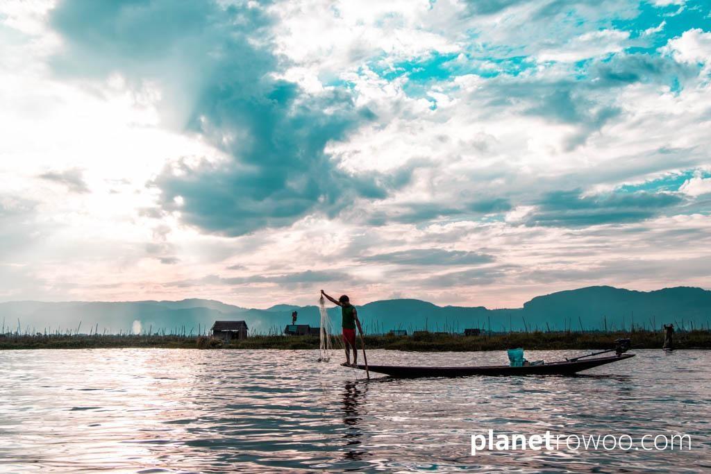 Inle Lake fisherman, as the sun goes down