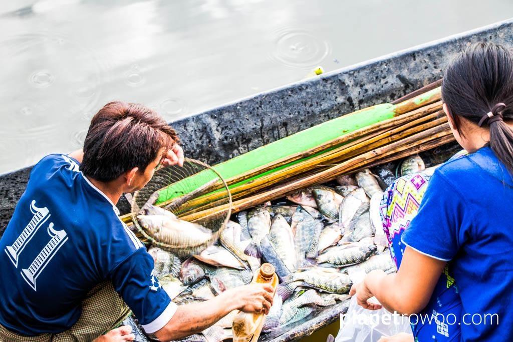 Selling freshly caught fish at Nga Phe Kyaung Monastery, Inle Lake