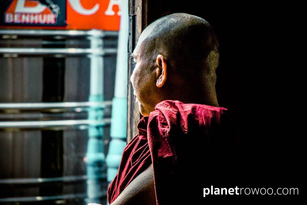 Monk at window, Nga Phe Kyaung Monastery, Inle Lake