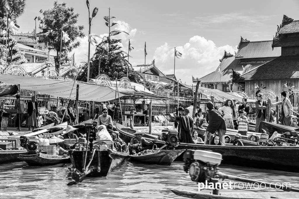 Tourist traffic at Hpaung Daw U Pagoda jetty, Inle Lake