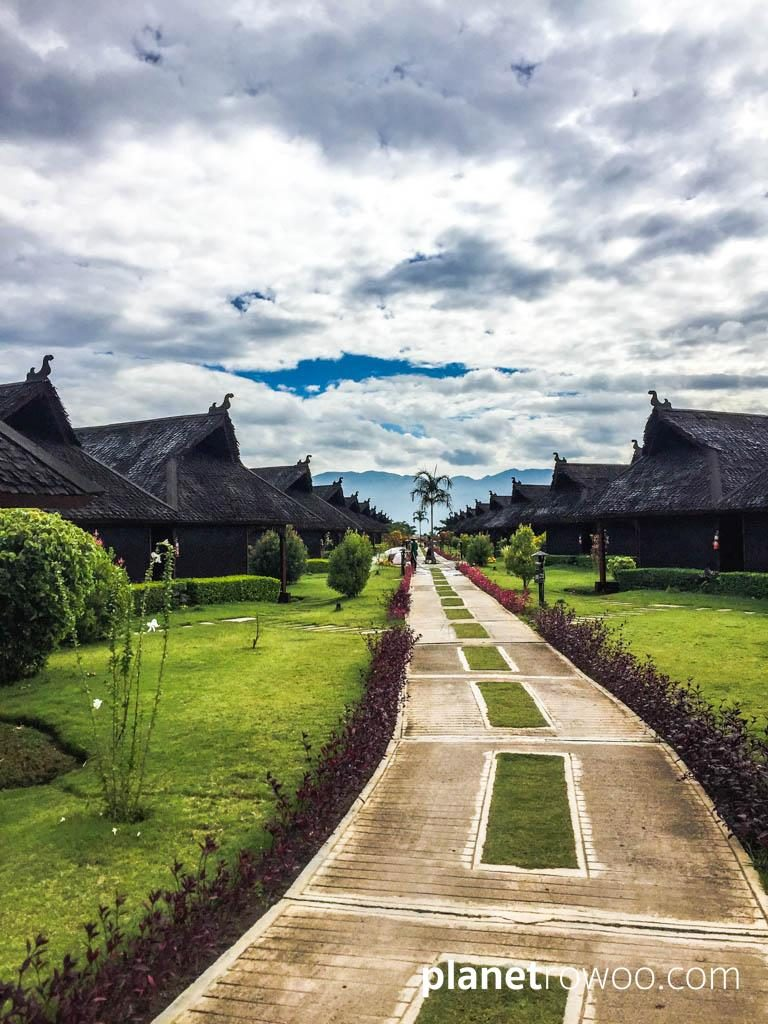 """Pathway to the """"floating"""" cottages, Pristine Lotus Resort"""