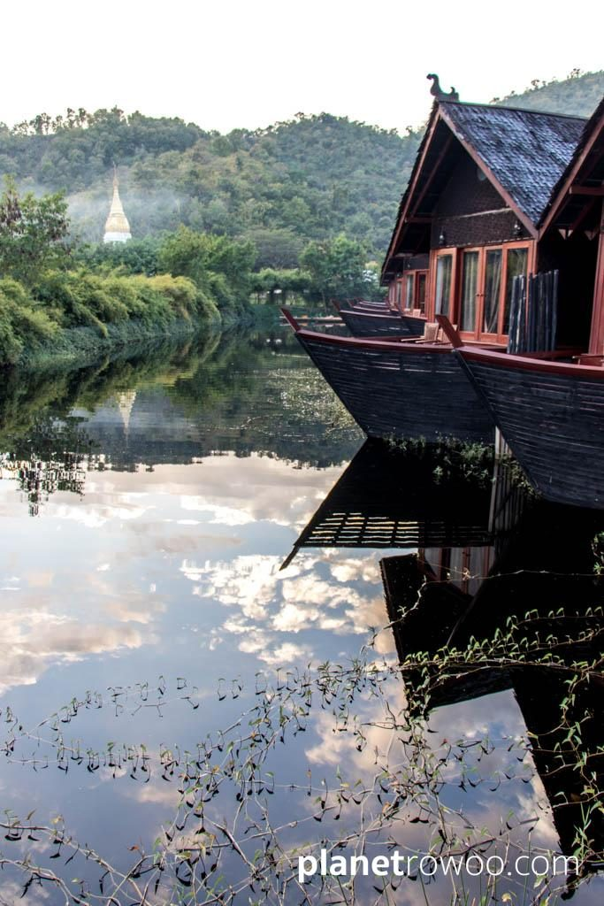 View down the waterway towards a local temple, Pristine Lotus Resort