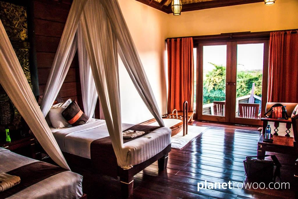 """The bedroom in the """"floating"""" cottages, Pristine Lotus Resort"""