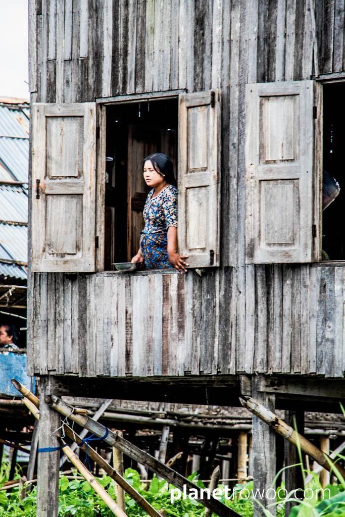 Inle Lake villager at window