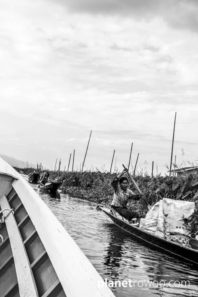 Passing traffic on an Inle Lake tributary