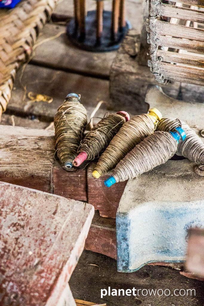 Reels of lotus thread, Inpawkhone weaving village