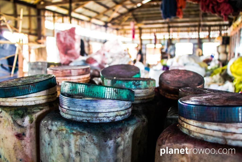 Jars of silk dye, Inpawkhone weaving village