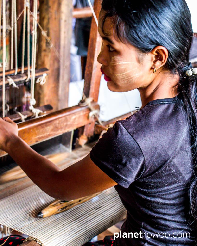 Inpawkhone village woman at her weaving loom, Inle Lake