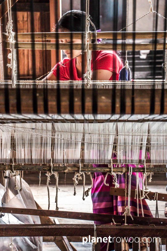 Inpawkhone village woman at her weaving loom, Inle Lake