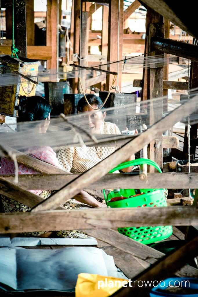 Inpawkhone weaving women take a break, Inle Lake