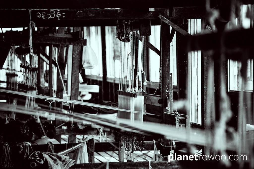 View through weaving loom, Inle Lake weaving village