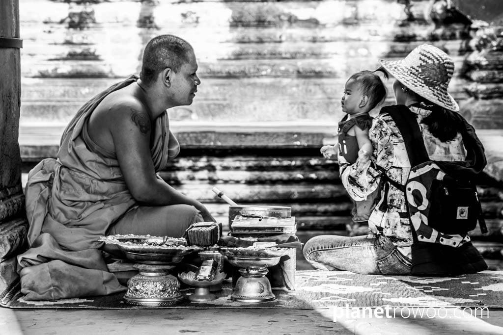 Buddhist monk blessing at Angkor Wat