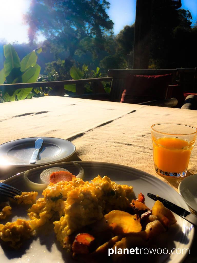 Breakfast at dawn on the veranda