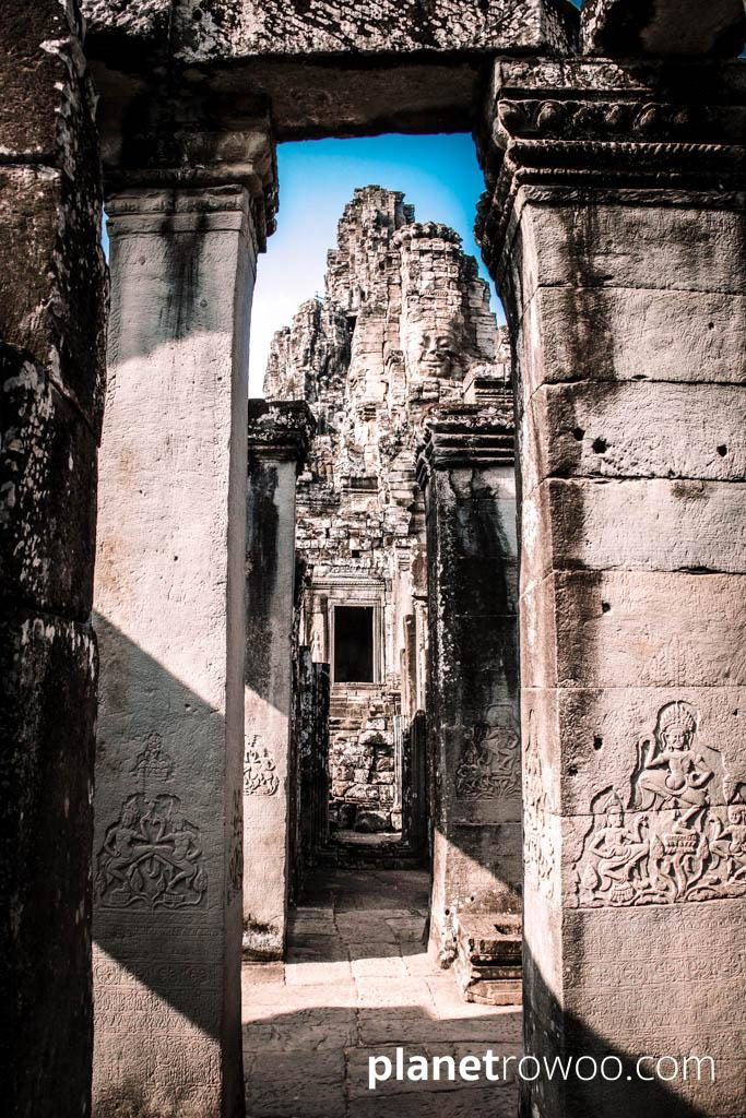 View through the maze of passageways to the upper level of Bayon