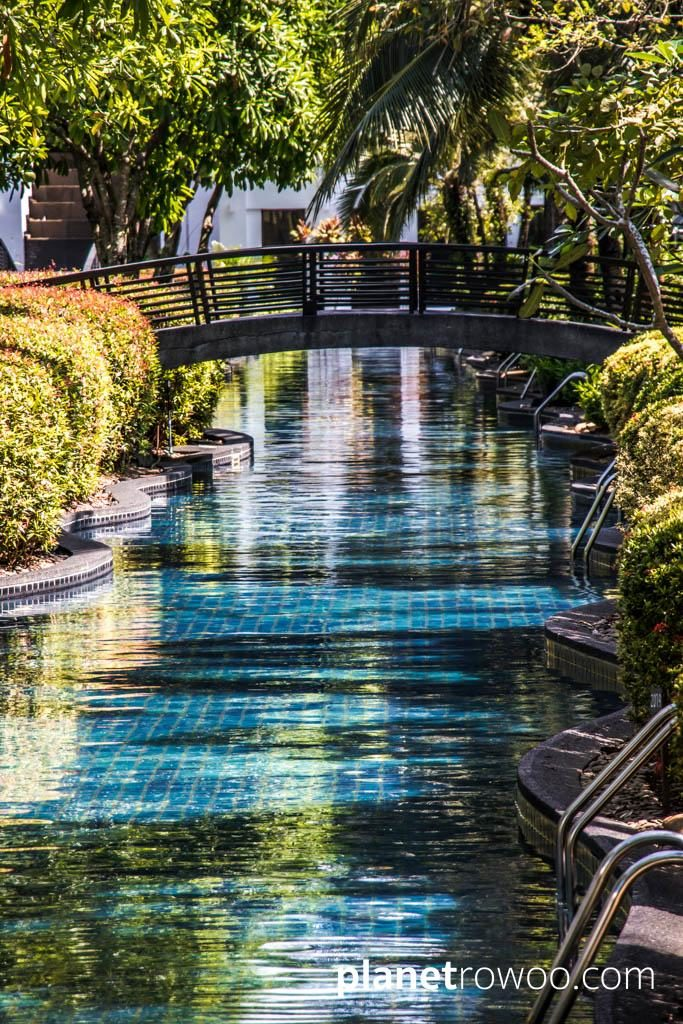 A waterway of the JW Marriott Khao Lak's unique lagoon swimming pool