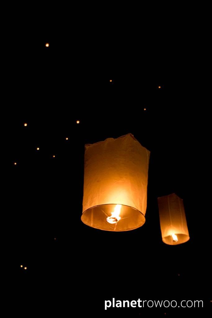 Lanterns float into the sky releasing bad memories during the Yee Peng festival