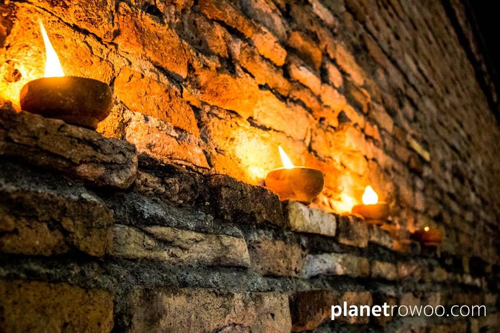 Terracotta lamps lit along Chiang Mai city walls during the Loy Krathong / Yee Peng Festival