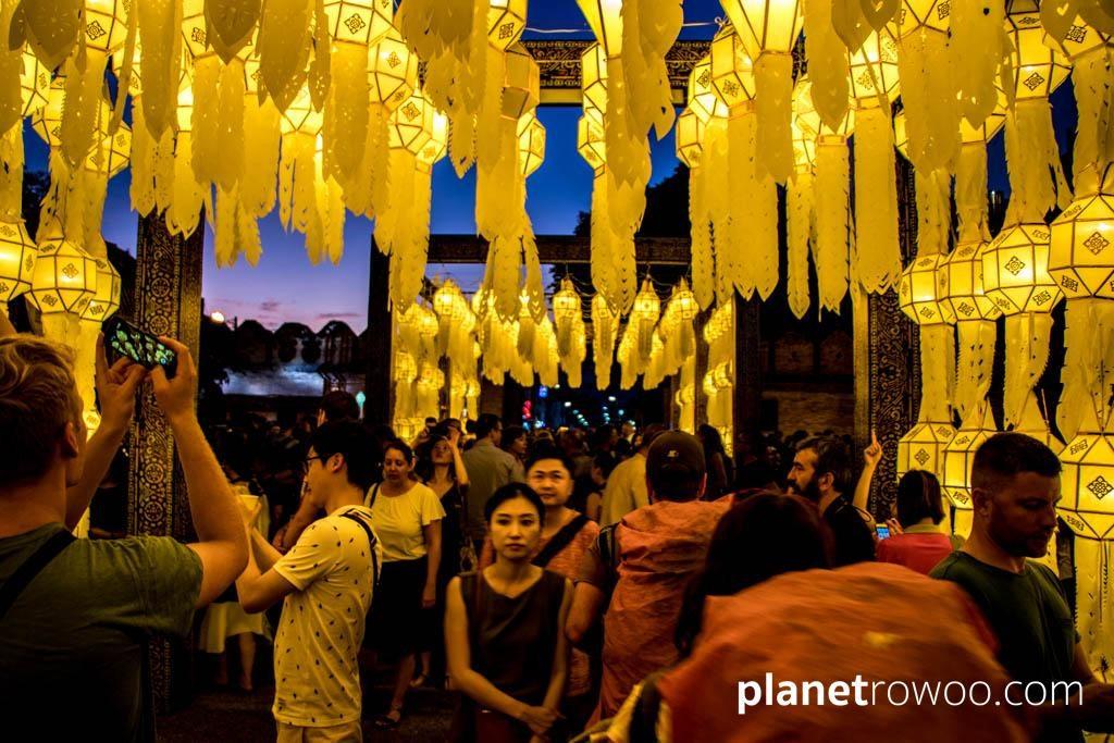 Yee Peng lantern displays at Tha Phae Gate, Chiang Mai