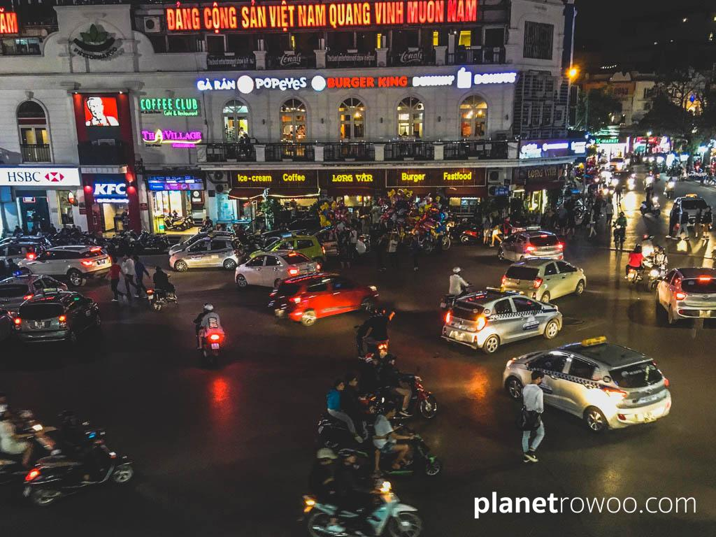 The busy Dong Kinh Nghia Thuc Square from Legend Beer, Hanoi Old Quarter