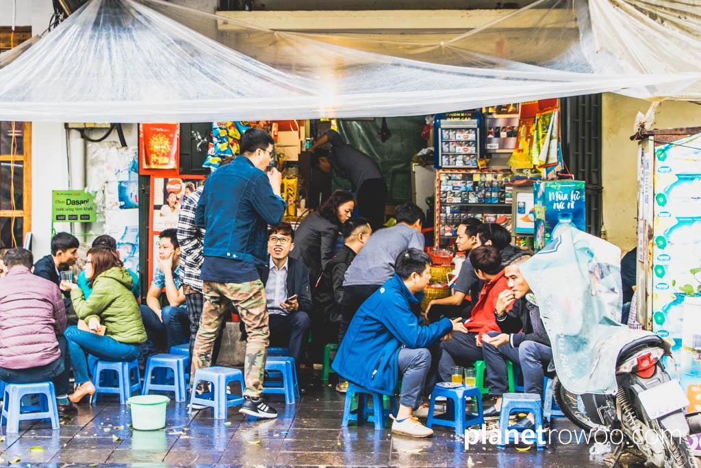 The Hanoi street food scene is a sociable activity