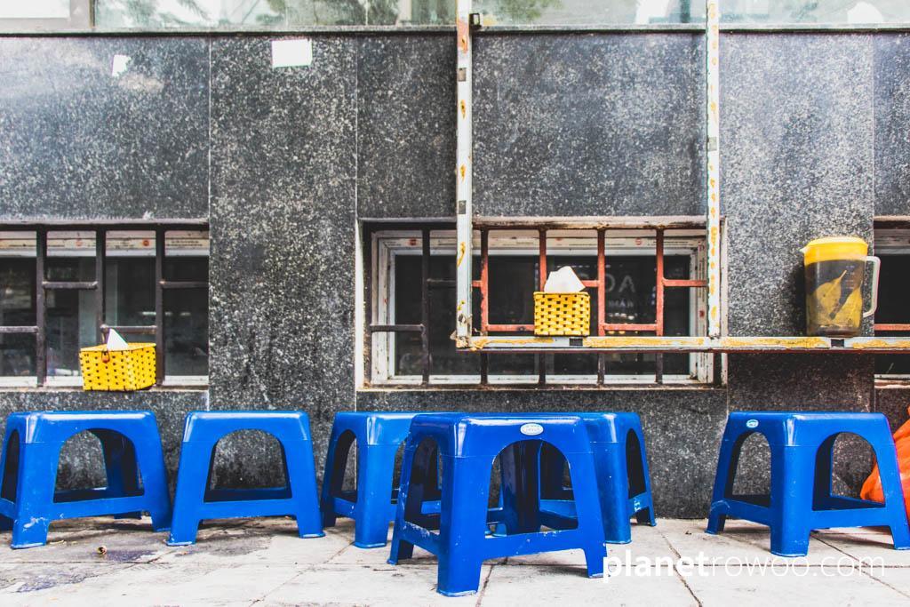 The ubiquitous blue plastic street food stools in Hanoi Old Quarter