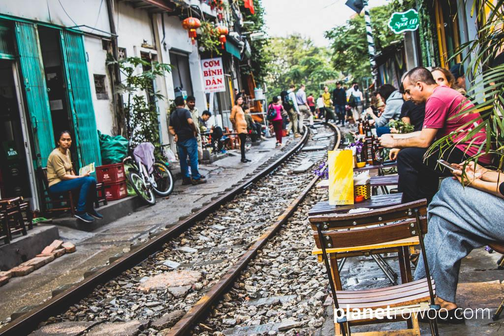 Waiting for the afternoon train on Train Street in Hanoi Old Quarter