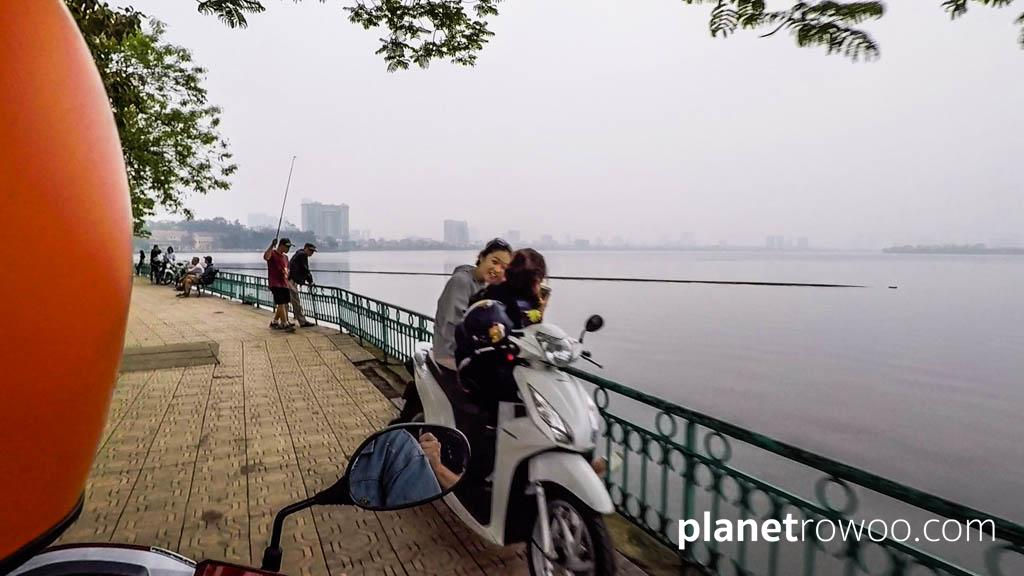 Skirting the edge of Hanoi's tranquil West Lake where locals come to escape the city madness