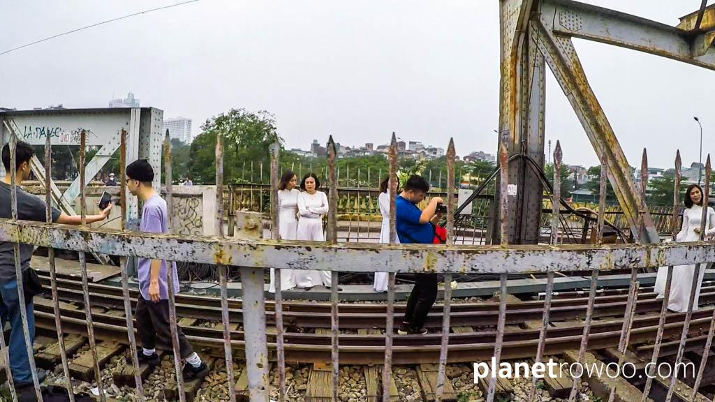 Trying to get that perfect shot on the tracks in-between trains on Long Biên Bridge