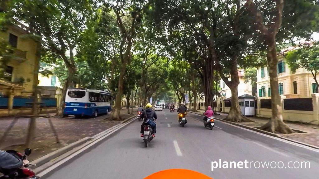The ride back through leafy tree-lined avenues