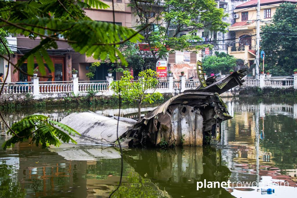 The remains of the downed B-52 bomber in Huu Tiep Lake