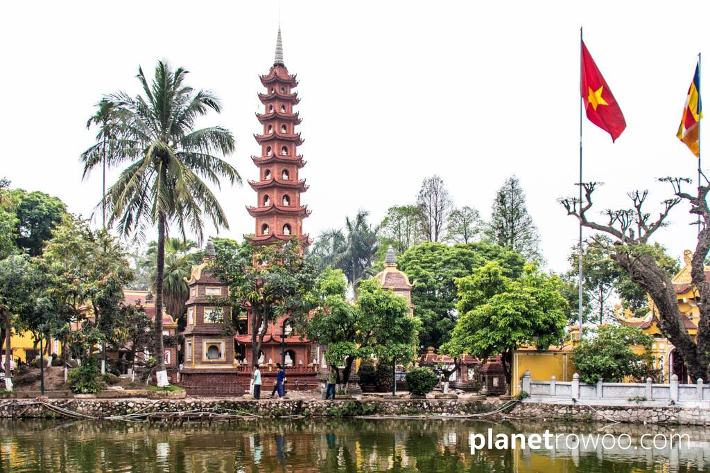 The eleven-tiered Tran Quoc Pagoda at West Lake