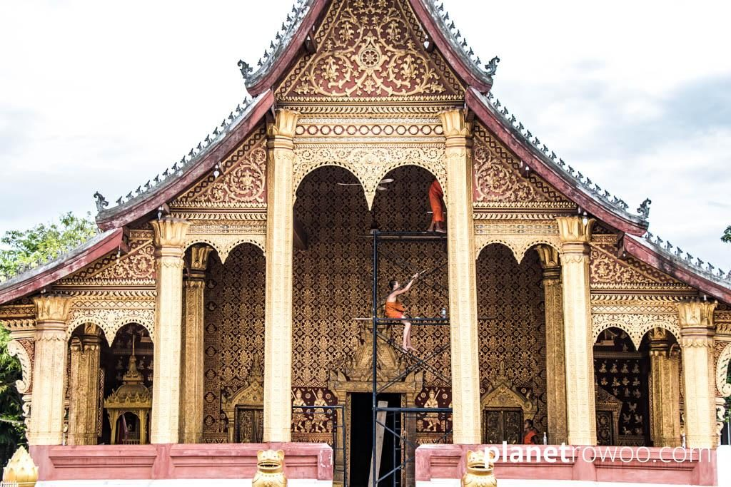 The palace-like facade of Wat Sene Souk Haram in Luang Prabang
