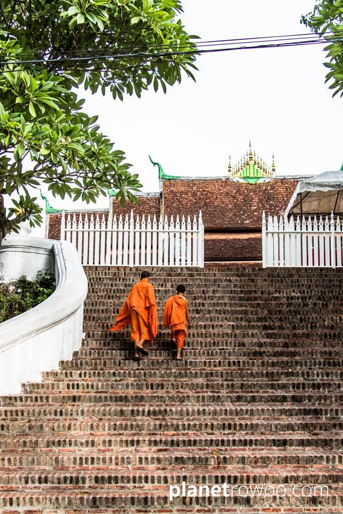 The entrance of Kings - the broad stairway leading up to Wat Xieng Thong from the banks of the Mekong