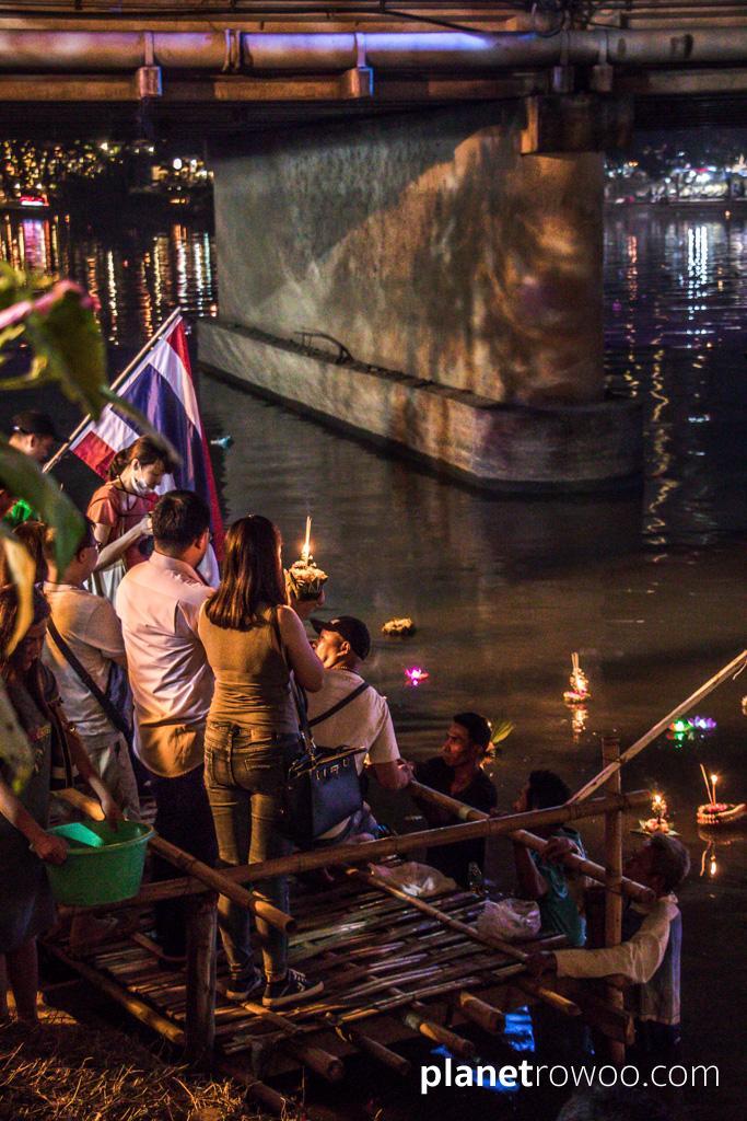 A platform for releasing Loy Krathong in the Ping river by Nawarat bridge