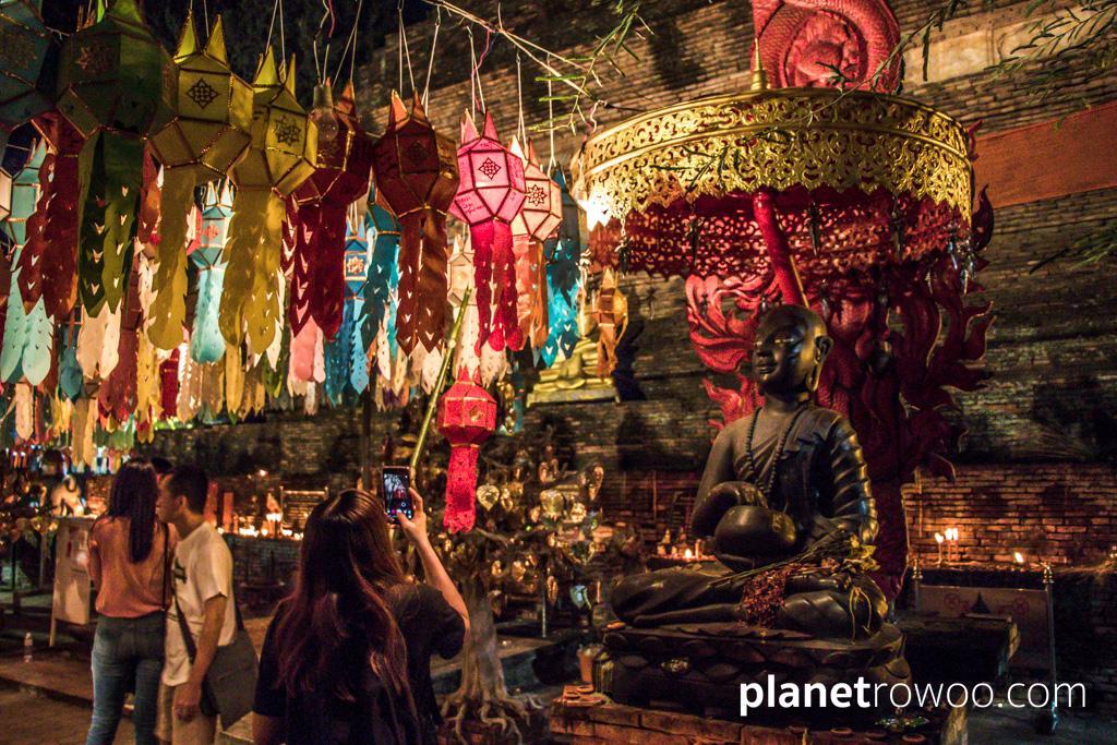 A mass of colourful Lanna lanterns at Wat Lok Moli