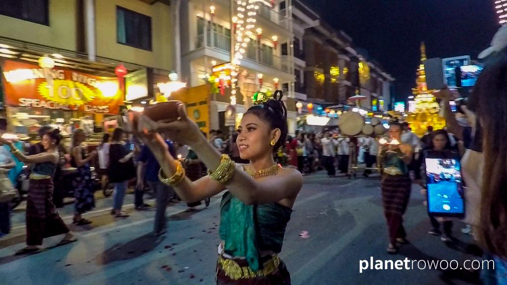 Candle dancer in the Yee Peng Lantern Parade, Chiang Mai