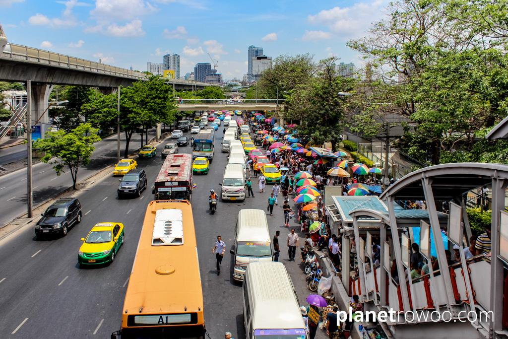 Follow the crowds from BTS Mochit station to Chatuchak Market