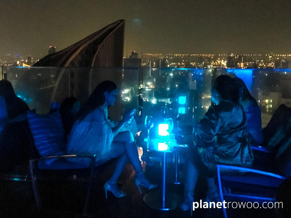 Chilling with friends at Octave Rooftop Bar in Bangkok